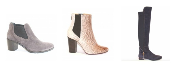 From left: Nicola Sexton Light Grey Suede Jodphur Boots £165, Joaquim Ferrer mock Croc Ankle Boots £269, Loriblu Navy Suede Over Knee Boots £525