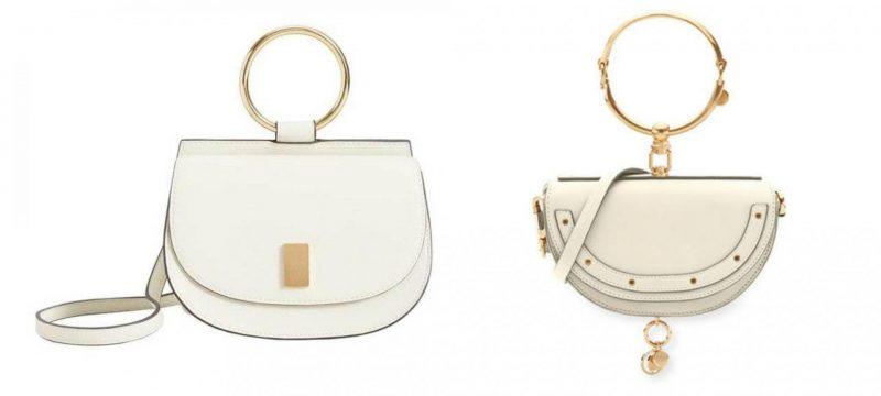 Mango metallic handle shoulder bag handbag dupes and Chloe Nile Leather Bracelet Bag