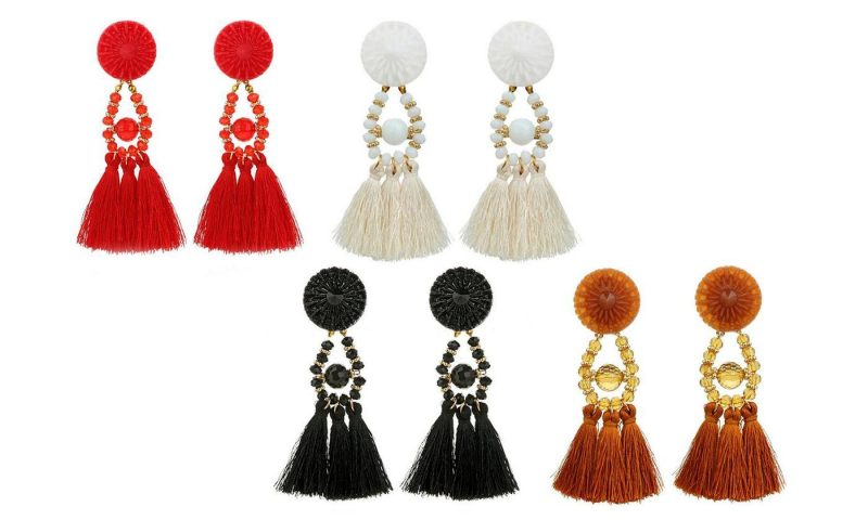 tassel earrings in red, white, black and brown