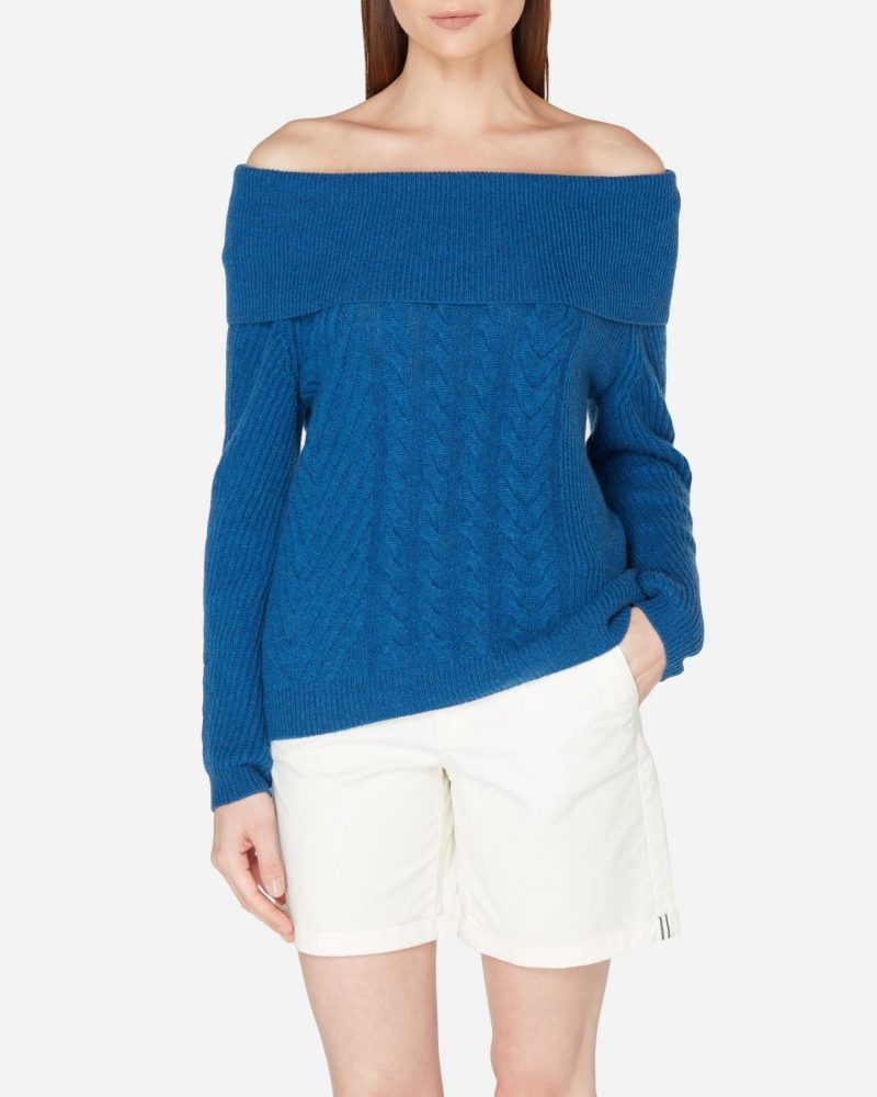 N.Peal off shoulder cable knit cashmere jumper in reef blue