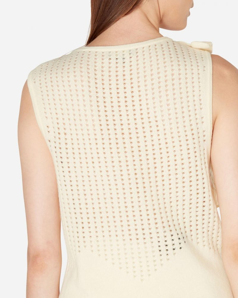 N.Peal pointelle knit ruffle cashmere jumper in primrose yellow