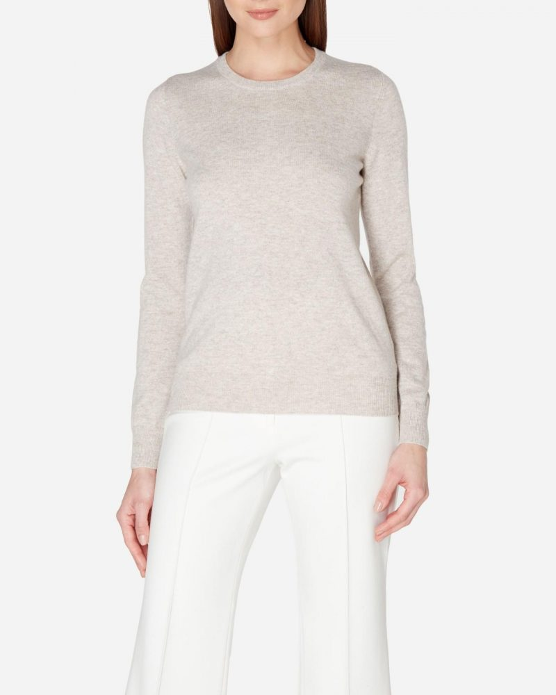 N.Peal round neck cashmere sweater in sand brown