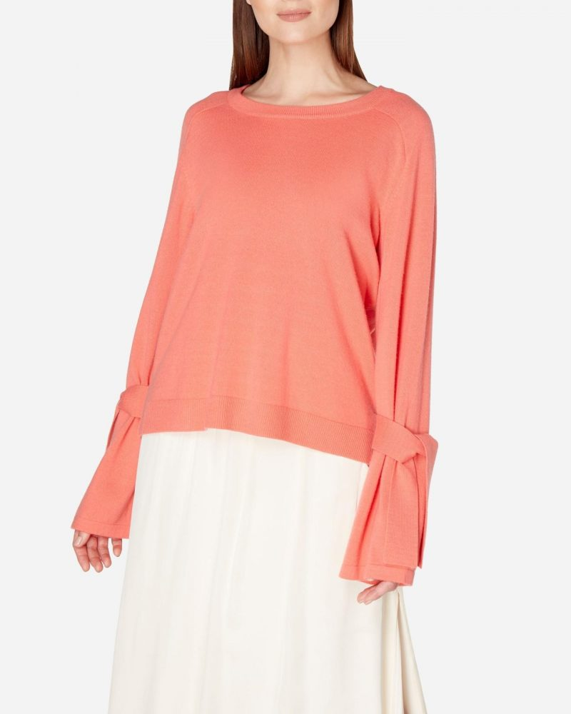 N.Peal tie sleeve cashemere jumper in rich coral pink