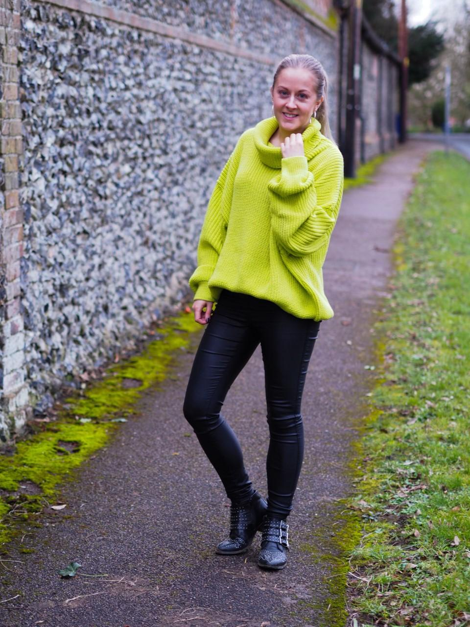 Femme Luxe lime neon oversized knitted jumper