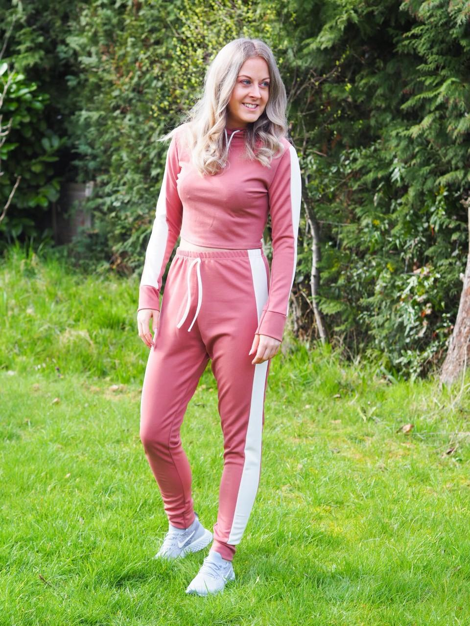 Femme Luxe pink and white stripe lounge wear set